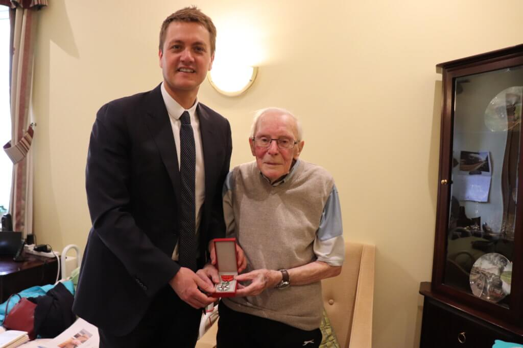Lavender Hills care home resident hero meets MP James Frith